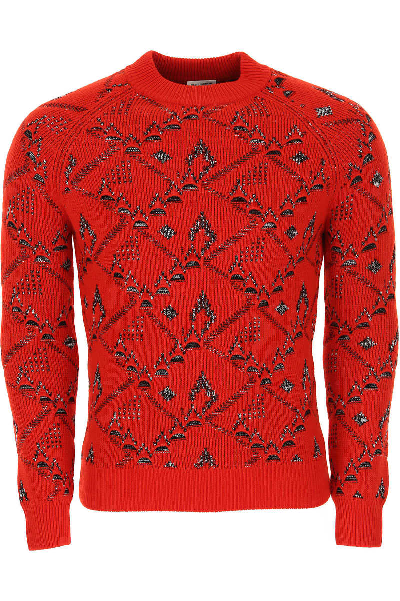 Yves Saint Laurent Sweater for Men Jumper On Sale in Outlet Red UK - GOOFASH - Mens SWEATERS