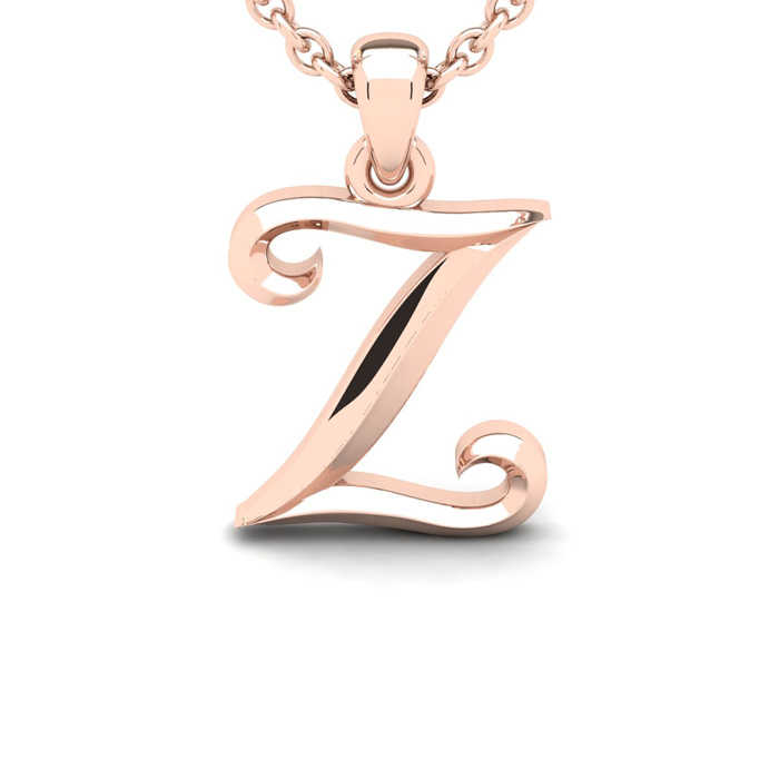 Z Swirly Initial Necklace in Heavy Rose Gold (2.1 g) w/ Free 18 Inch Cable Chain UK - GOOFASH - Womens JEWELRY