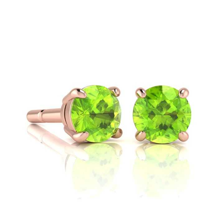 1 1/3 Carat Round Shape Peridot Stud Earrings in 14K Rose Gold Over Sterling Silver UK - GOOFASH - Womens JEWELRY