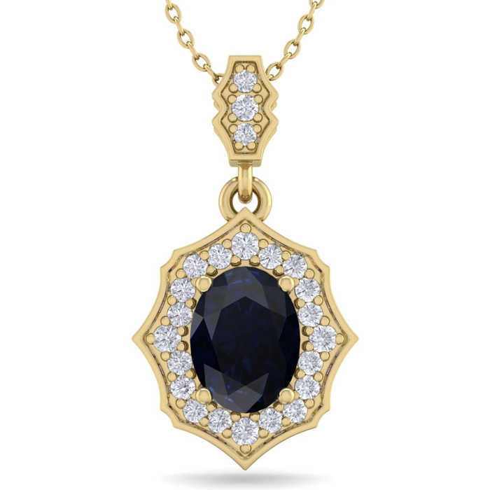1 3/4 Carat Oval Shape Sapphire & Diamond Necklace in 14K Yellow Gold (2.60 g)