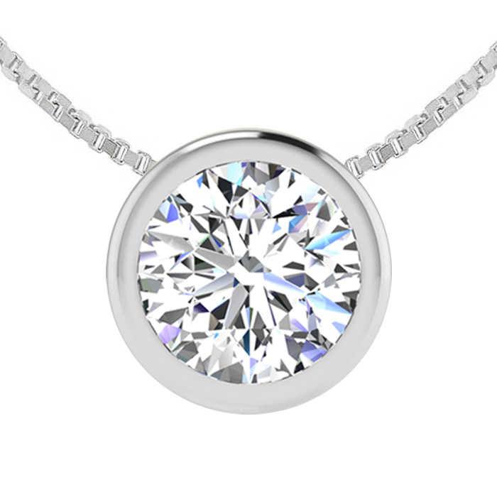 1 Carat Bezel Set Diamond Solitaire Necklace in 14K White Gold (2.60 g)