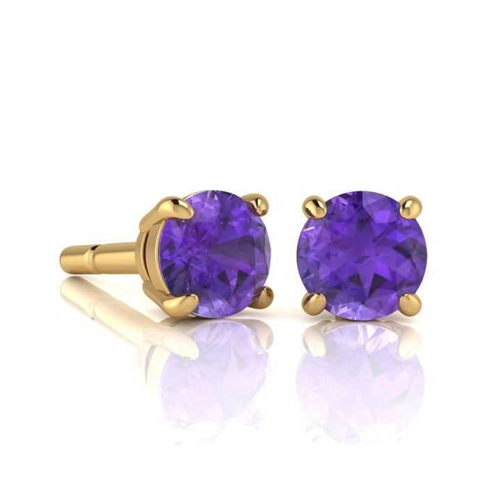 1 Carat Round Shape Amethyst Stud Earrings in 14K Yellow Gold Over Sterling Silver UK - GOOFASH - Womens JEWELRY