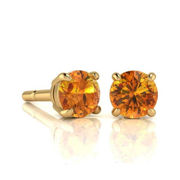1 Carat Round Shape Citrine Stud Earrings in 14K Yellow Gold Over Sterling Silver UK - GOOFASH - Womens JEWELRY