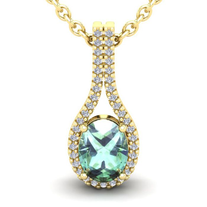 1.25 Carat Oval Shape Green Amethyst & Halo Diamond Necklace in 14K Yellow Gold (2.2 g)