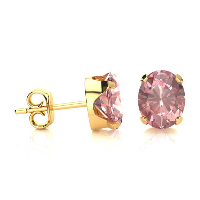 1.25 Carat Oval Shape Morganite Stud Earrings in 14K Yellow Gold Over Sterling Silver UK - GOOFASH - Womens JEWELRY