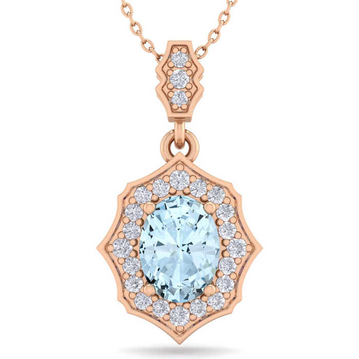 1.5 Carat Oval Shape Aquamarine & Diamond Necklace in 14K Rose Gold (2.60 g)
