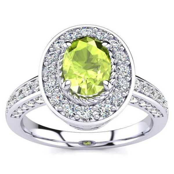 1.5 Carat Oval Shape Peridot & Halo 71 Diamond Ring in 14K White Gold (5.2 g)