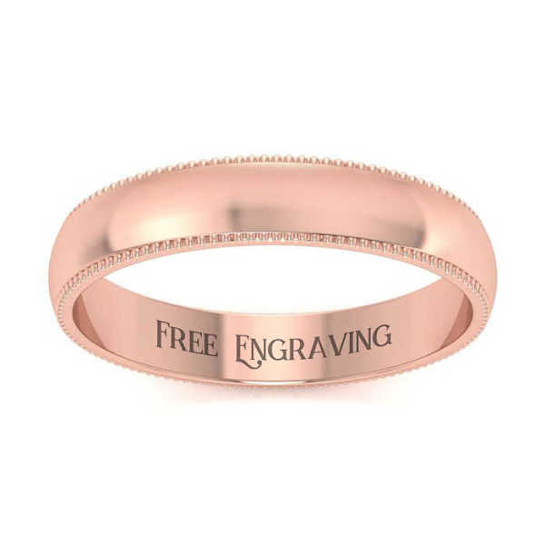 10K Rose Gold (6.3 g) 4MM Heavy Comfort Fit Milgrain Ladies & Men's Wedding Band