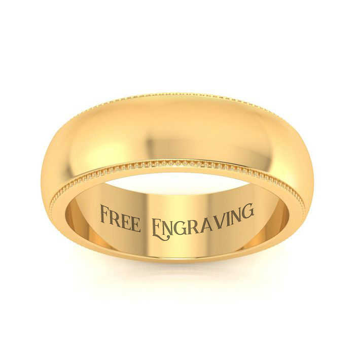 10K Yellow Gold (4.5 g) 6MM Milgrain Ladies & Men's Wedding Band