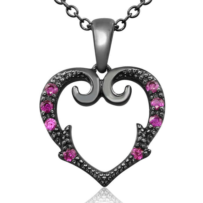 1/10 Carat Victorian Ruby Heart Necklace in Black Coated Sterling Silver