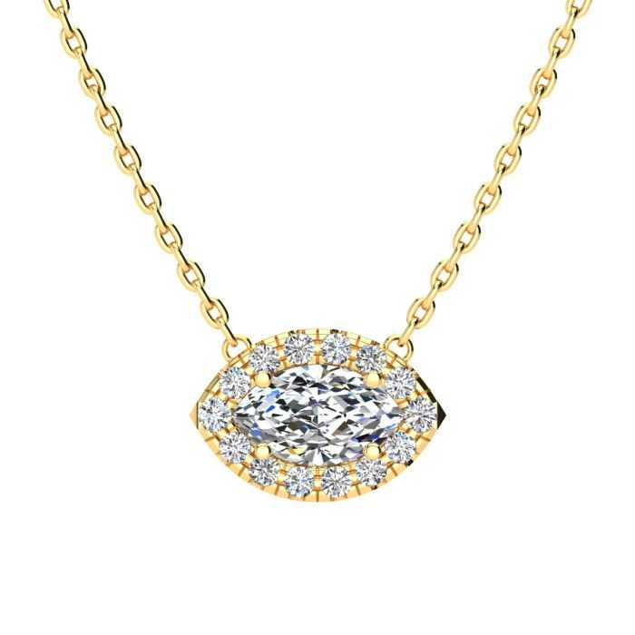 1/2 Carat Marquise Shape Halo Diamond Necklace in 14K Yellow Gold (2.62 g)