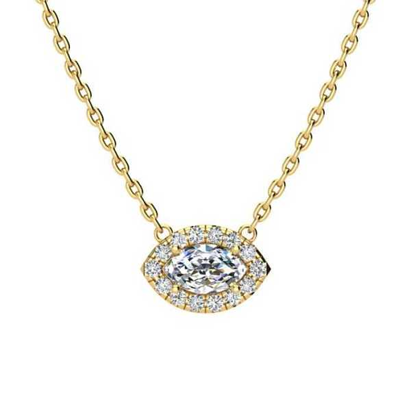 1/3 Carat Marquise Shape Halo Diamond Necklace in 14K Yellow Gold (2.62 g)