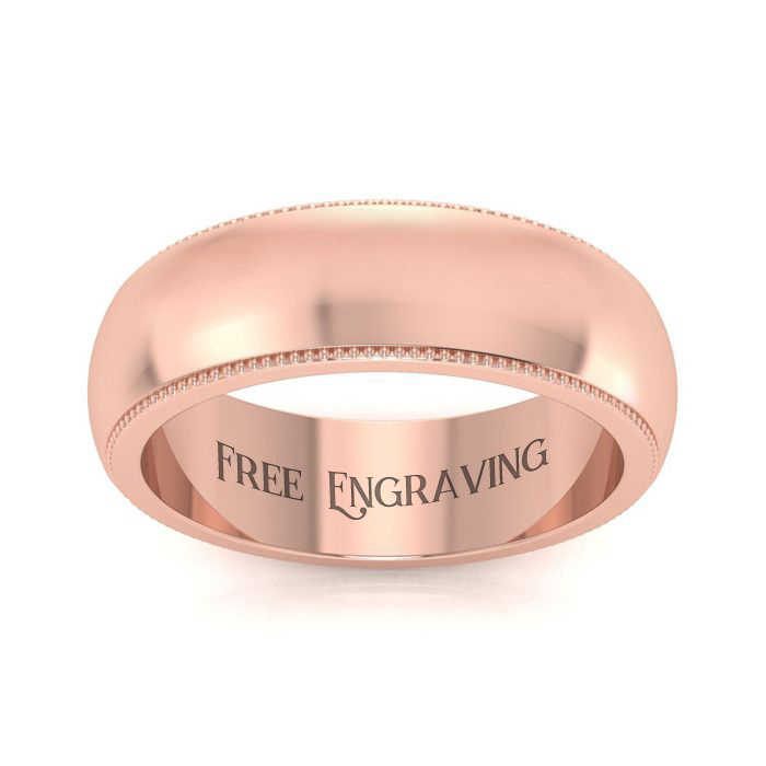 14K Rose Gold (4.9 g) 6MM Milgrain Ladies & Men's Wedding Band