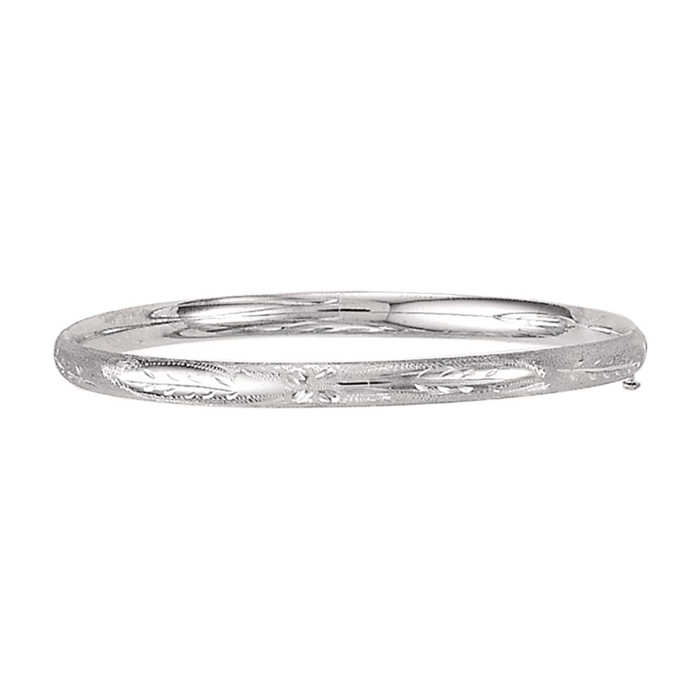 14K White Gold (3.80 g) Kids Leaf Bangle Bracelet
