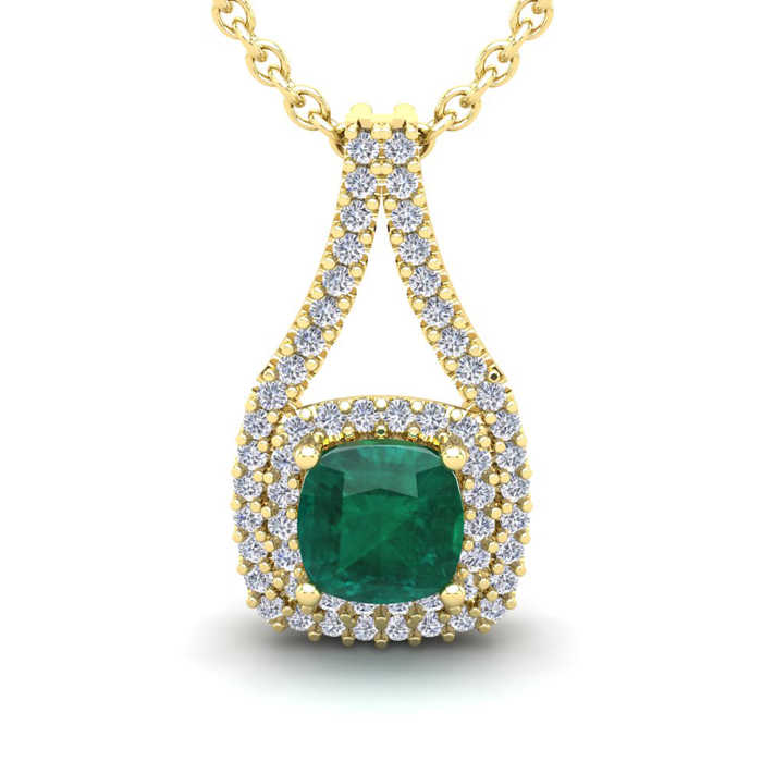 2 Carat Cushion Cut Emerald & Double Halo Diamond Necklace in 14K Yellow Gold (3.5 g)