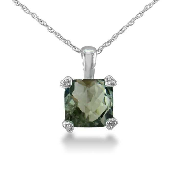 2 Carat Cushion Cut Green Amethyst & Diamond Pendant Necklace in 10k White Gold (1.8 g)