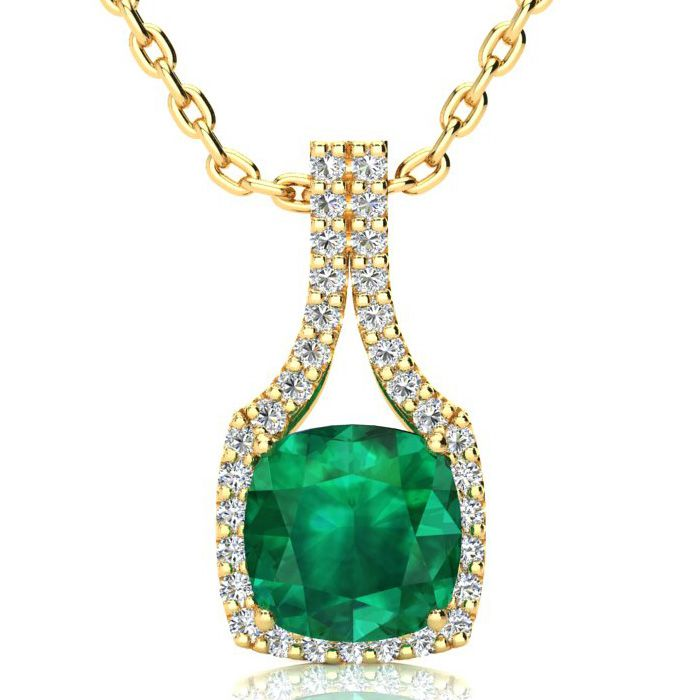 2.5 Carat Cushion Cut Emerald & Classic Halo Diamond Necklace in 14K Yellow Gold (3.5 g)