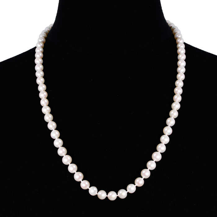 24 Inch 8mm AA Hand Knotted Pearl Necklace