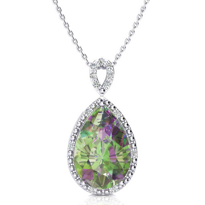 3 1/2 Carat Pear Shaped Mystic Topaz & Diamond Necklace in 10K White Gold (2.4 g)
