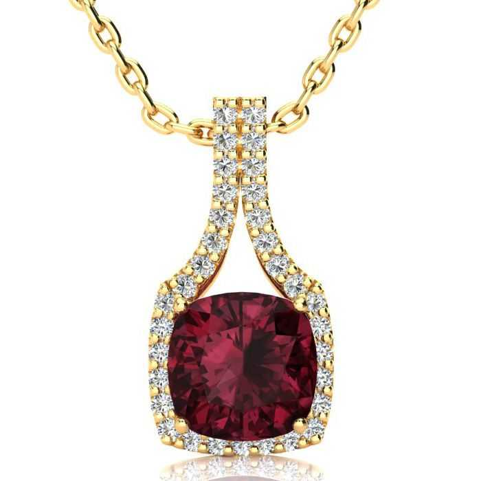 3 2/3 Carat Cushion Cut Garnet & Classic Halo Diamond Necklace in 14K Yellow Gold (3.5 g)