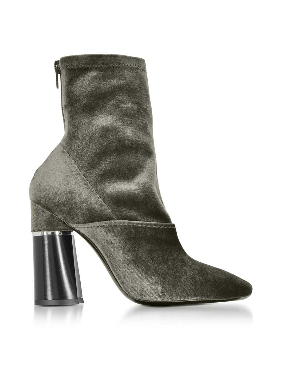 3.1 Phillip Lim  Shoes Kyoto Olive Velvet Stretch High Heel Ankle Boots Olive USA - GOOFASH - Womens ANKLE BOOTS