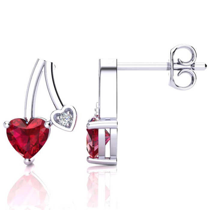 3/4 Carat Created Ruby & Diamond Heart Earrings in 10k White Gold (1.50 g)