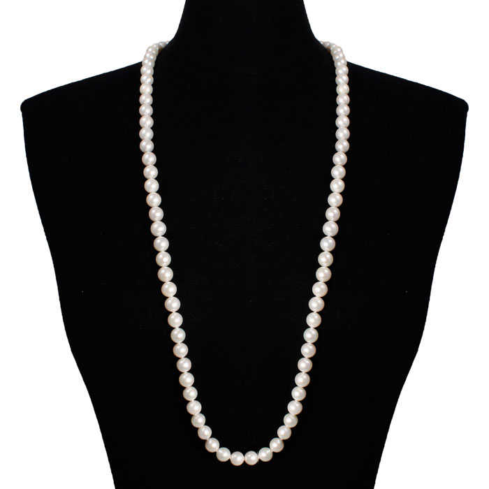 36 Inch 10mm AAA Hand knotted Pearl Necklace