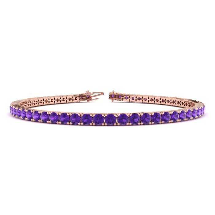 6 Inch 3 1/2 Carat Amethyst Tennis Bracelet in 14K Rose Gold (8.1 g) UK - GOOFASH - Womens JEWELRY