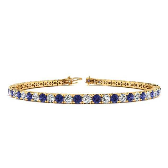 6.5 Inch 4 1/4 Carat Tanzanite & Diamond Tennis Bracelet in 14K Yellow Gold (8.7 g)