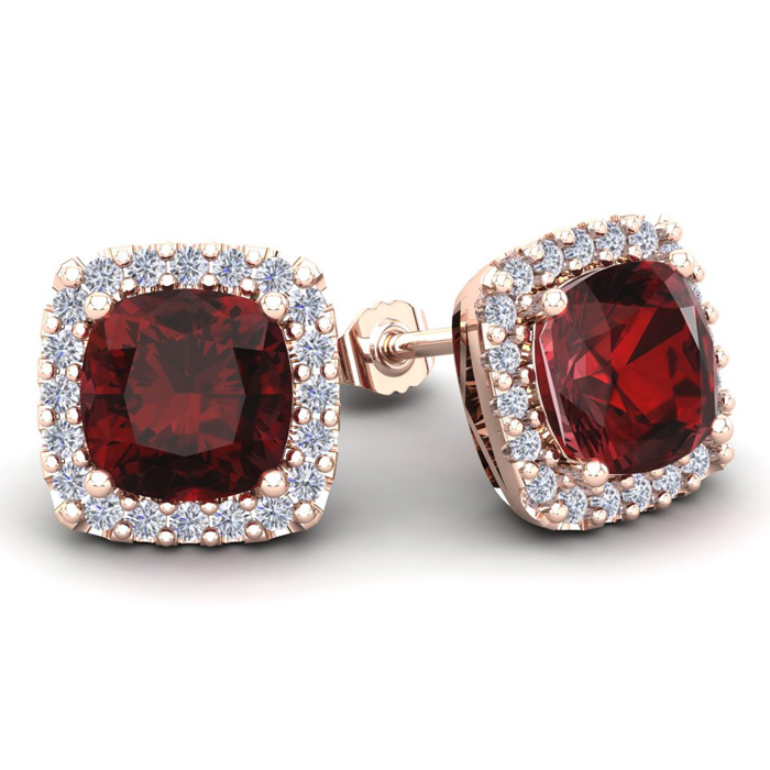 7 Carat Cushion Cut Garnet & Halo Diamond Stud Earrings in 14K Rose Gold (3.7 g)