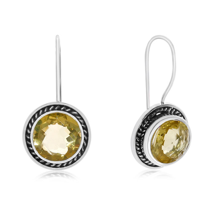 7 Carat Lemon Quartz Earrings in Sterling Silver w/ Rope Detail UK - GOOFASH - Womens JEWELRY