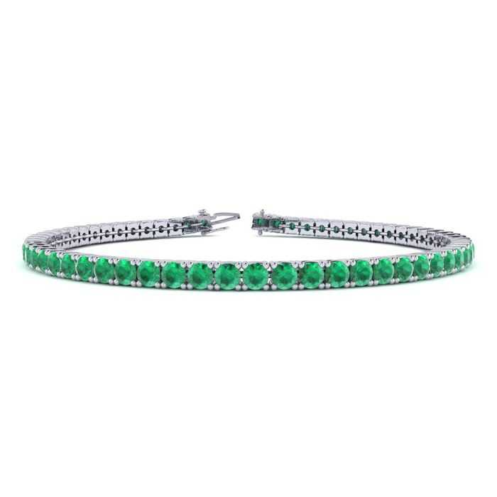 7 Inch 4 1/2 Carat Emerald Tennis Bracelet in 14K White Gold (9.4 g) UK - GOOFASH - Womens JEWELRY