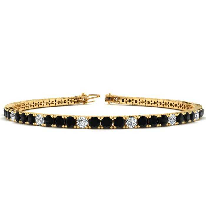 7 Inch 4 Carat Black & White Diamond Alternating Tennis Bracelet in 14K Yellow Gold (9.4 g)