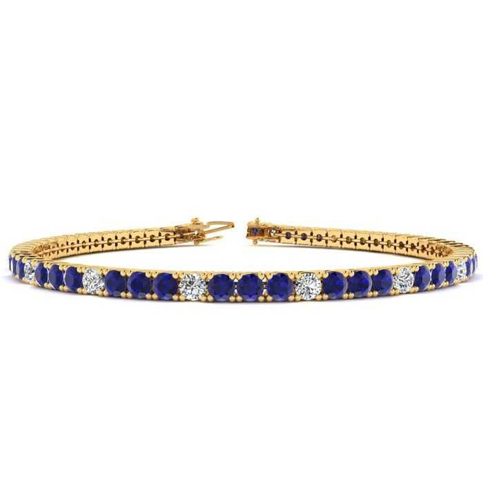 7.5 Inch 5 1/4 Carat Sapphire & Diamond Alternating Tennis Bracelet in 14K Yellow Gold (10.1 g)
