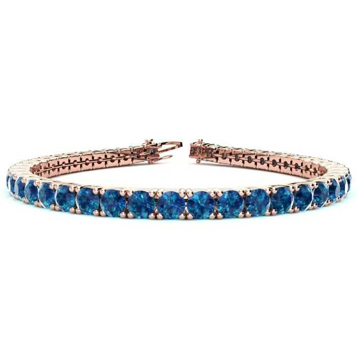 8 Inch 10 1/2 Carat Blue Diamond Tennis Bracelet in 14K Rose Gold (13.7 g) UK - GOOFASH - Womens JEWELRY