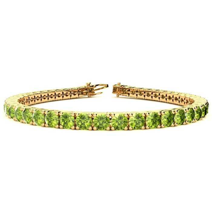 8 Inch 10 1/2 Carat Peridot Tennis Bracelet in 14K Yellow Gold (13.7 g) UK - GOOFASH - Womens JEWELRY