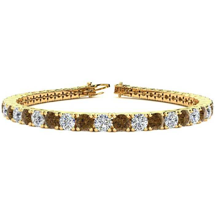 8.5 Inch 11 1/5 Carat Chocolate Bar Brown Champagne & White Diamond Tennis Bracelet in 14K Yellow Gold (14.6 g)