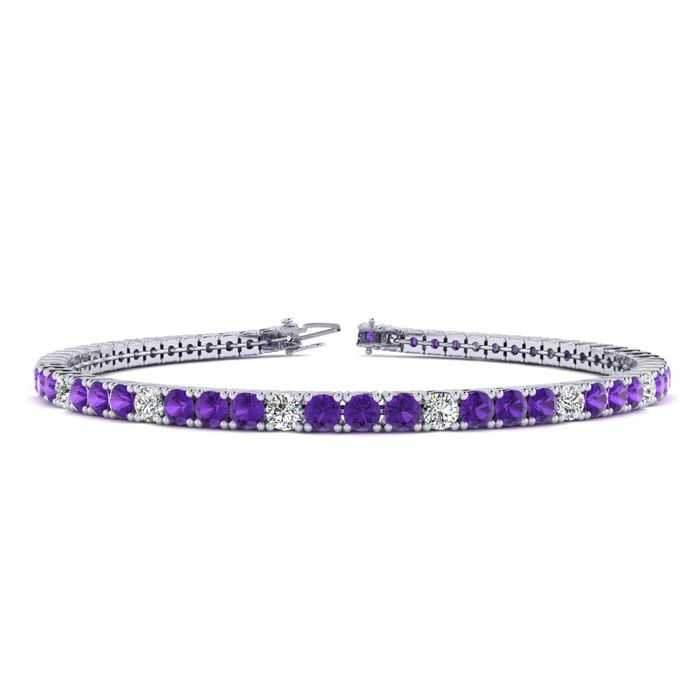 8.5 Inch 3 3/4 Carat Amethyst & Diamond Alternating Tennis Bracelet in 14K White Gold (11.3 g)