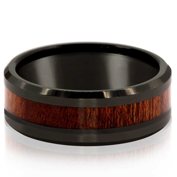8MM Ethically Sourced Koa Wood & Black Tungsten Carbide Ring UK - GOOFASH - Mens JEWELRY