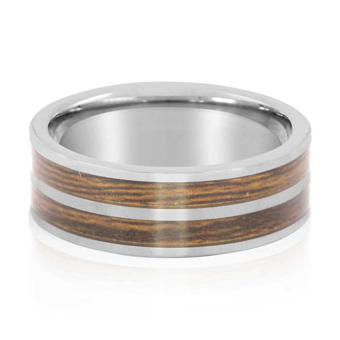 8MM Ethically Sourced Koa Wood & Tungsten Carbide Double Row Ring