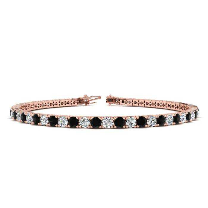 9 Inch 5 Carat Black & White Diamond Tennis Bracelet in 14K Rose Gold (12.1 g)