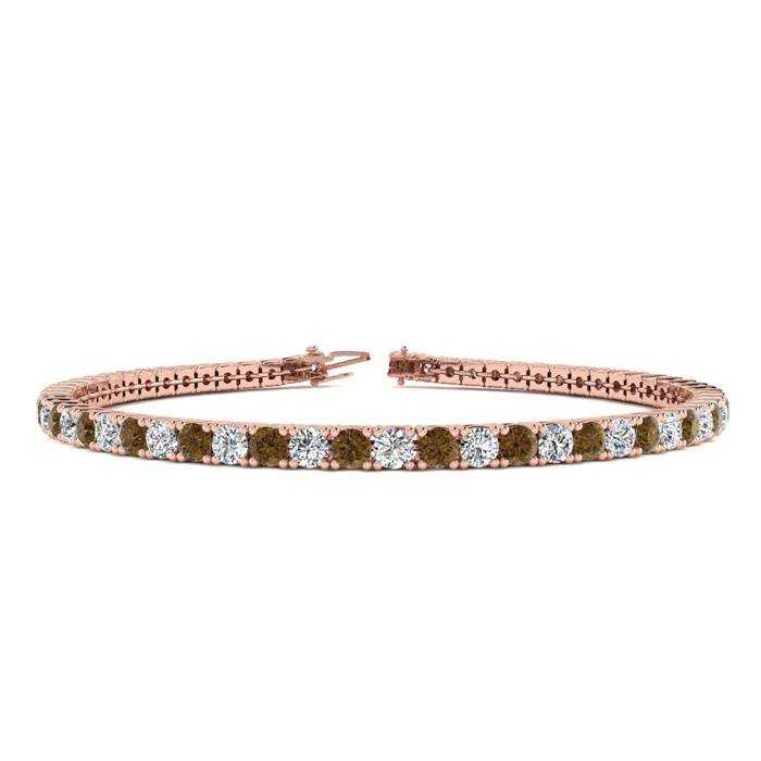 9 Inch 5 Carat Chocolate Bar Brown Champagne & White Diamond Tennis Bracelet in 14K Rose Gold (12.1 g)