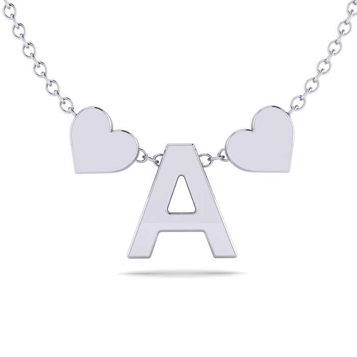 """A"" Dainty Block Initial Necklace w/ Hearts in White Gold Overlay"
