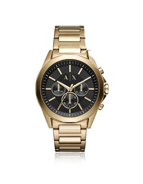Armani Exchange Men's Watches Drexler Black Dial and Gold Tone Stainless Steel Men's Chronograph Watch Gold USA - GOOFASH - Mens WATCHES