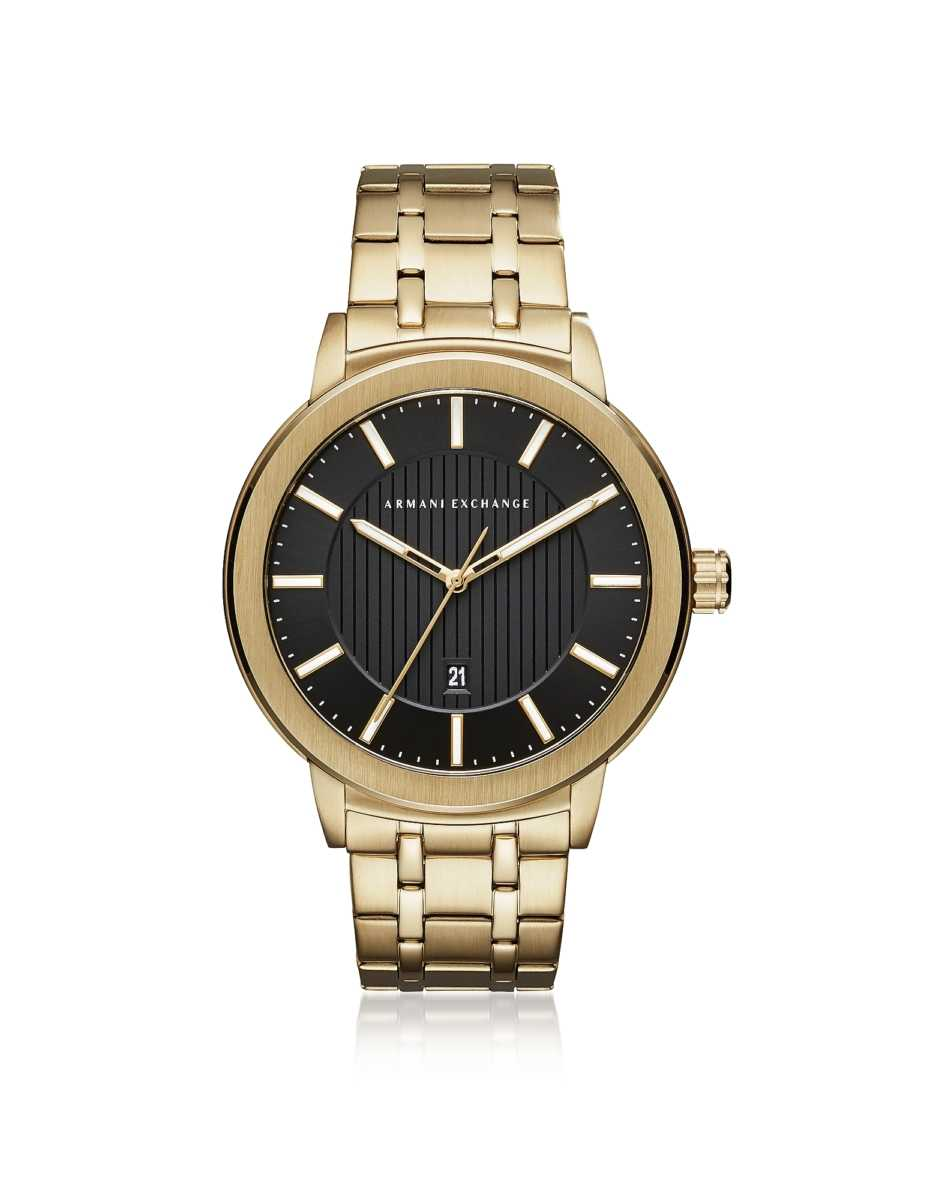 Armani Exchange  Men's Watches Maddox Black Dial and Gold Tone Stainless Steel Men's Watch Gold USA - GOOFASH - Mens WATCHES