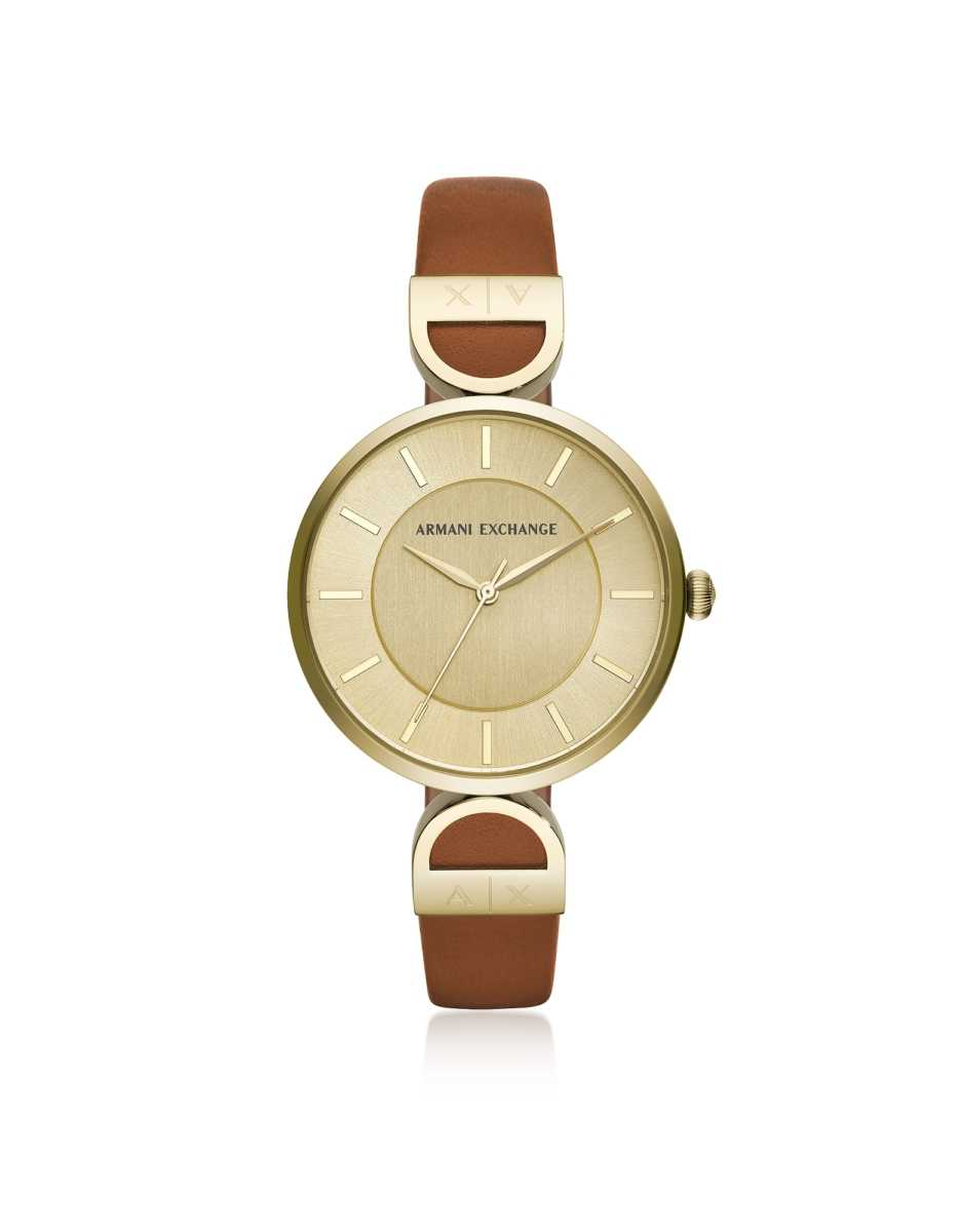 Armani Exchange  Women's Watches Brooke Gold Tone Luggage Women's Watch Gold USA - GOOFASH - Womens WATCHES