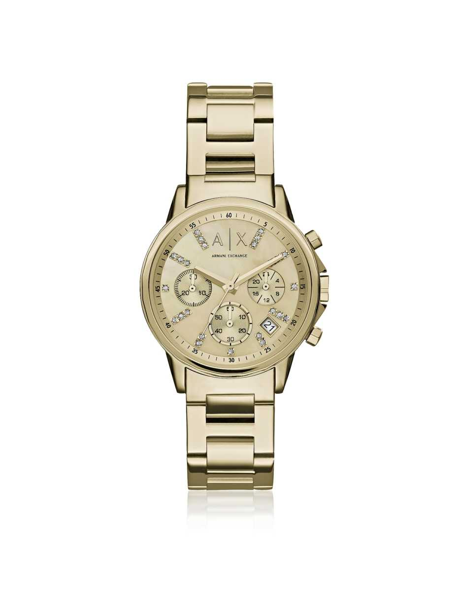 Armani Exchange  Women's Watches Lady Banks Gold Tone Chronograph Women's Watch Gold USA - GOOFASH - Womens WATCHES