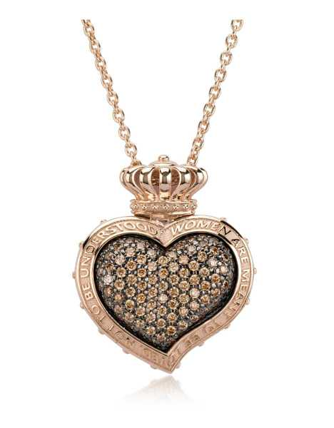 Azhar Necklaces Rose Sterling Silver and Cubic Zirconia Sacred Heart Pendant Necklace Champagne USA - GOOFASH - Womens JEWELRY