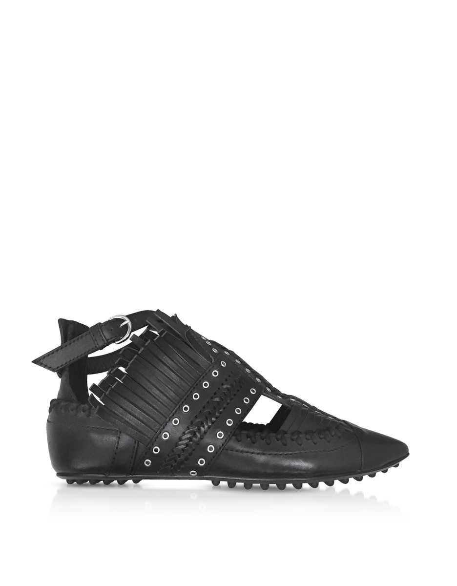 Carven  Shoes Black Fringed Leather Flat Ballerinas Black USA - GOOFASH - Womens BALLERINAS