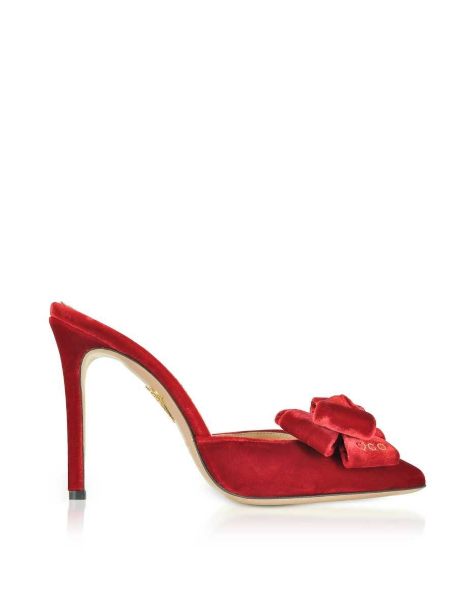 Charlotte Olympia  Shoes Rose Red Velvet High Heel Bow Mules Red USA - GOOFASH - Womens HIGH HEELS